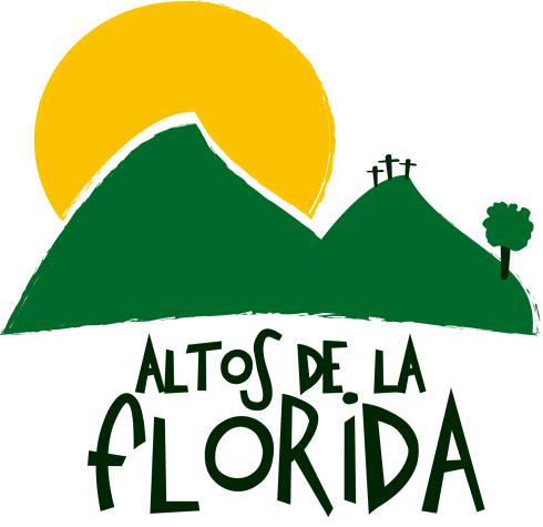 Diseño por: Leo Prieto Inspirado en los cerros de Altos de la Florida, en el sur-occidente de Soacha, las 3 cruces, el árbol del amor y el sol naciente, como lo es hoy esta nueva y luchadora comunidad.